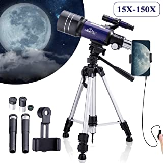 MAXLAPTER Telescope - Portable Travel Scope for Astronomy Beginners Kids, 300/70 HD Large View Telescopes with Camera Wire Shutter & Smartphone Adapter, Backpack-Blue