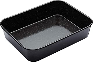 MasterClass Vitreous Enamel Roasting Tin, Induction Safe 1mm Steel with Scratch Resistant Coating, Medium (34 x 26cm)