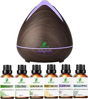 BePureWell 400ml Diffuseur d'Huiles Essentielles & 6 Top Huiles Essentielles d'Aromathérapie ,Humidificateur Ultrasonique ...