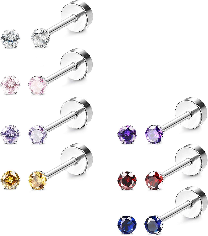 CASSIECA 7 Pairs 20G Stainless Steel CZ Stud Earrings for Women Girls Multicolor Cubic Zirconia Cartilage Helix Earrings Set Screwback 2-6MM