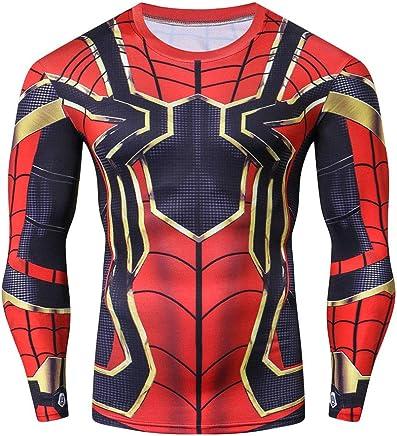 56332868 GERGER BO Spiderman Compression Shirt,Men's Compression Sports Shirt Black  Spider Long Sleeve Tee