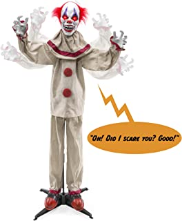 Best Best Choice Products Scary Harry The Motion Activated Animatronic Killer Clown, Halloween Prop w/Pre-Recorded Lines, Red Light Up Eyes, Moving Arms & Head Review