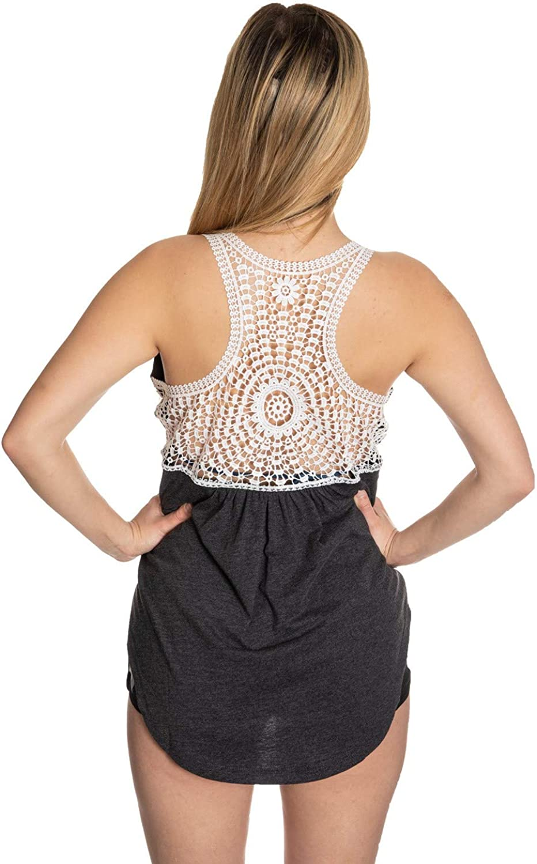 Calhoun NHL Ladies Flowy Racerback Crochet Lace Tank Top