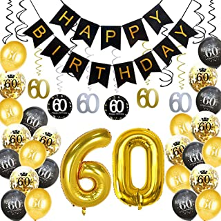 HankRobot 60th Birthday Decorations Party Supplies(40pack) Gold Number Balloon 60 Happy Birthday Banner Latex Balloons(Black, Golden) Confetti Balloons -Great for 60 Sixty Years Old Birthday Party