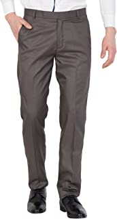 American-Elm Men Brown Solid Cotton Formal Trouser