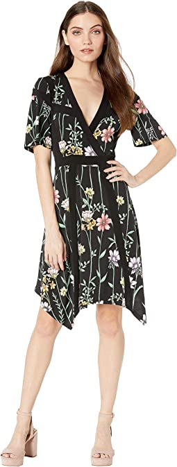 Floral V-Neck Printed Matte Jersey Dress