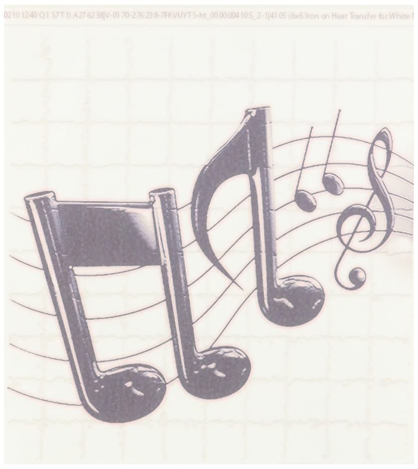 3dRose ht_4105_2 Music Notes-Iron on Heat Transfer for White Material, 6 by 6-Inch