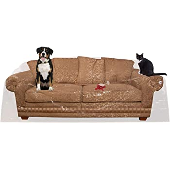 """Houseables Couch Covers For Dogs, Cat Scratch Deterrent, 96""""W x 42""""H x 40""""D, 1 Pk, Clear, Vinyl, Sofa Protector, Waterproof Shield, Furniture Protectors, Plastic Slipcovers, Dog, Pet, Cats Pee, Moving"""