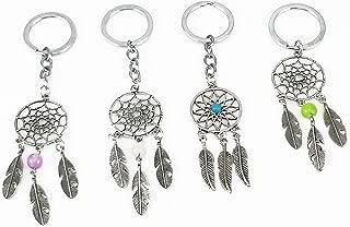 yueton Pack of 4 Handmade Dream Catcher Key Ring Key Chain Charm for Bag Hanging Ornament