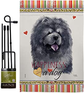 Breeze Decor Black Chow Happiness Garden Flag Set with Stand Dog Puppy Spoiled Paw Canine Fur Pet Nature Farm Animal Creature House Banner Small Yard Gift Double-Sided, Made in USA
