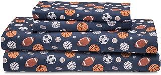 HowPlum Sport Full Sheet Set Microfiber Kids Boys Athlete Soccer Football Baseball Bedding, Blue
