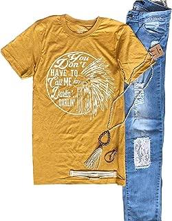 Anbech Women Darlin' Tee Country Summer Casual Short Sleeve Shirt Print Tees Tops