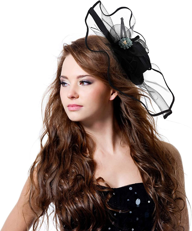 MioCloth Women Flower Fascinator Hair Clip Hairpin Hat Large Wedding Tea Party Headwear Black