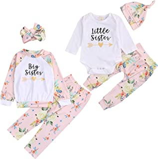 Baby Girl Sister Matching Outfits Toddler Little Big Sister Long Sleeve Top + Floral Pants Clothes Set