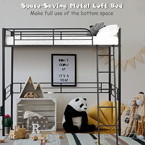 new arrival Giantex Metal Loft Bed Frame, Heavy Duty new arrival Twin Loft Bed with Ladder, Space-Saver Multifunctional Metal Pipe, Kids Bunk online sale Bed Frame with Safety Guard Rails (Twin) online