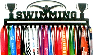URBN Metal Wall Mount 'Swimming' Sports Medal Hanger and Lanyard Ribbon Display Holder Rack with Easy Hanging Hooks & Simple Install, Great Gift for Swimmers