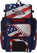 Boombah Superpack Bat Pack -Backpack Version (no Wheels) - Holds 2 Bats - Ink Baseball USA Series - for Baseball or Softball