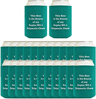 Personalized Coolies Any Text Custom Coolie 24-pack Can Coolie Drink Coolers Custom Coolies Teal