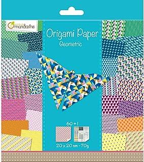 Avenue Mandarine 52501MD - Un paquet de 60 feuilles Origami 20x20 cm 70G (30 motifs x 2 feuilles) et une planche de sticke...
