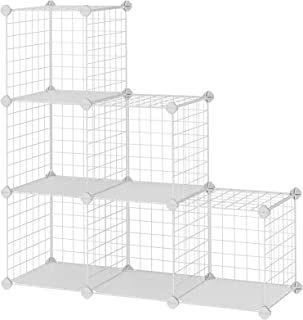 SONGMICS Armario Modular de Malla de Hierro Armario de Almacenaje con 6 Cubos Estantería Modulable Organizador Multiuso...