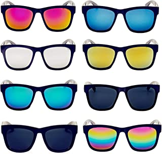 8 Pack Wholesale Unisex Mirrored Reflective Color Lens Party Sunglasses Polarized Big Wide Frame Eyewear