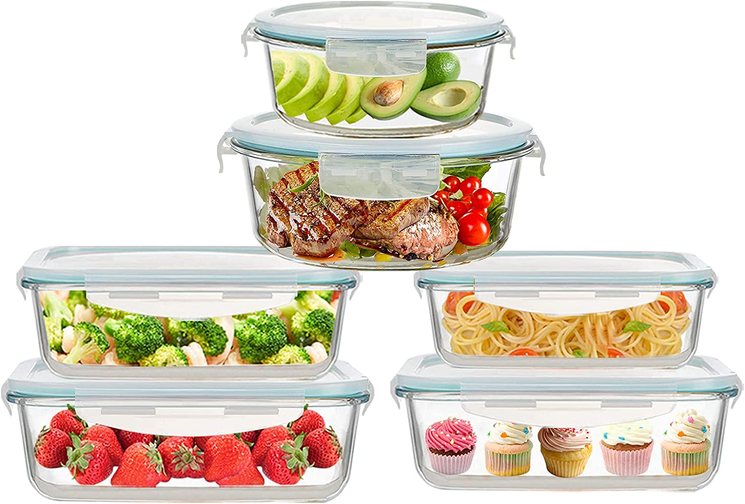ROSOS Glass Food Storage Containers with Lids 12 Pieces, Airtight Glass Meal Prep Containers BPA Free & Leak Proof, Glass Lunch Containers Microwave/Oven/Dishwasher Safe (6 Set) Blue