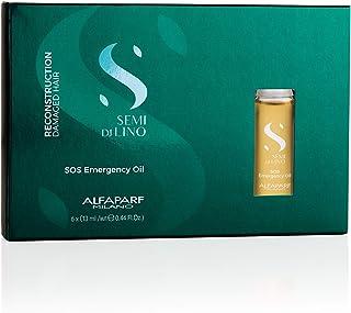Alfaparf Milano Semi Di Lino Reconstruction Reparative SOS Emergency Oil for Damaged Hair - Includes 6 Vials - Professional Salon Quality - Repairs, Provides Shine and Softness - 2.64 Fl Oz