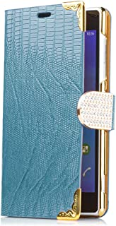 iCues Sony Xperia Z2 | kroko strass väska petrol | [display skyddsfilm ingår] krokodil strass glitter glitter lyx bling kv...