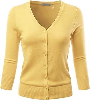 9c672e76811 EIMIN Women s 3 4 Sleeve V-Neck Button Down Stretch Knit Cardigan Sweater (