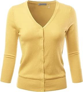 EIMIN Women's 3/4 Sleeve V-Neck Button Down Stretch Knit Cardigan Sweater (S-3X)