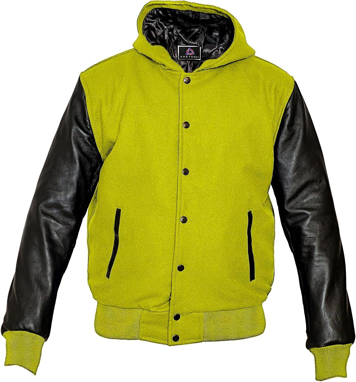 AMETHYST Varsity College Letterman Jacket, Black Leather Sleeves & Yellow Wool Body (5XL)