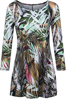 MOONHOUSE 2018 ❤️❤️ Women Sexy O-Neck Floral Printed 3/4 Sleeve Tunic Tops Casual T-Shirt Loose Blouse ❤️❤️ Plus Size