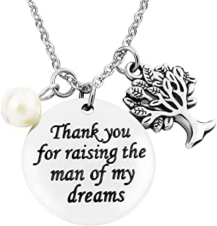 ALoveSoul Mothers Day Necklace - Gifts for Women Stainless Steel Thank You for Raising The Man of My Dreams Pendant
