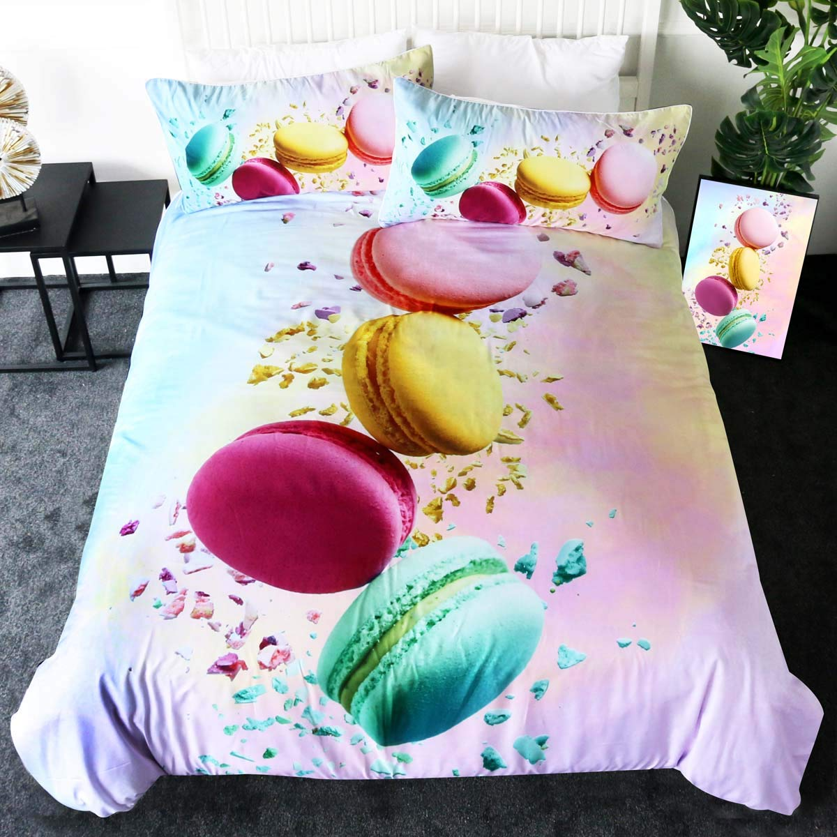 Amazon Com Sleepwish Mint Macaron Bedding 3 Pieces Pink Macaroon Pastel Duvet Cover French Food Paris Themed Girls Bed Set Queen Kitchen Dining