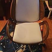 Amazon Com Baxton Studio Didier Modern Contemporary Office Chair Walnut White Furniture Decor