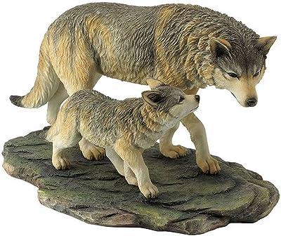US 10.75 Inch Animal Figurine Wolf and Cub Walking Black Ochre White Gray