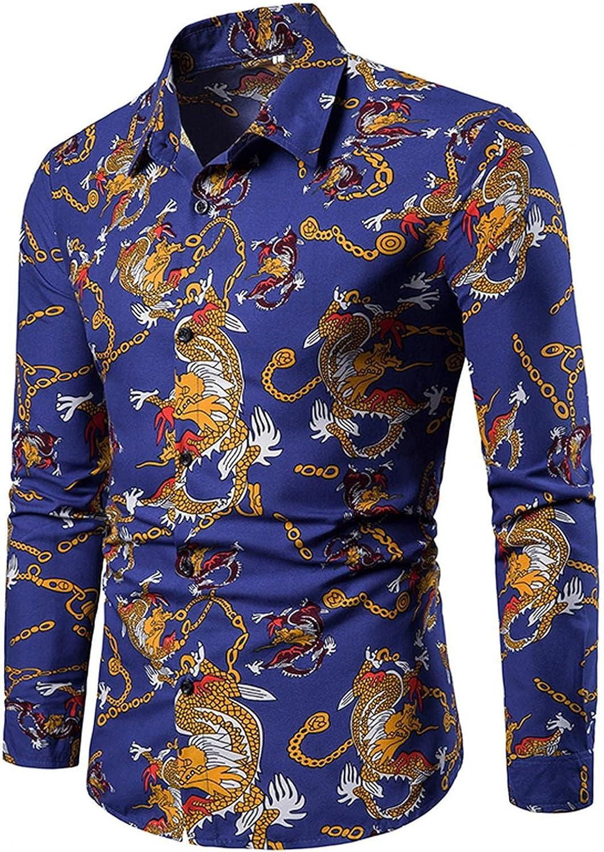 Men's Paisley Print Dress Shirt Long Sleeve Button Down Blouse Casual Lapel Loose Slim Fit Casual Tops