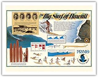 Pacifica Island Art The Big Surf of Hawaii - Primo Hawaiian Beer - Hawaii Brewing Company - Vintage Surfing Poster c.1963 - Fine Art Print - 11in x 14in