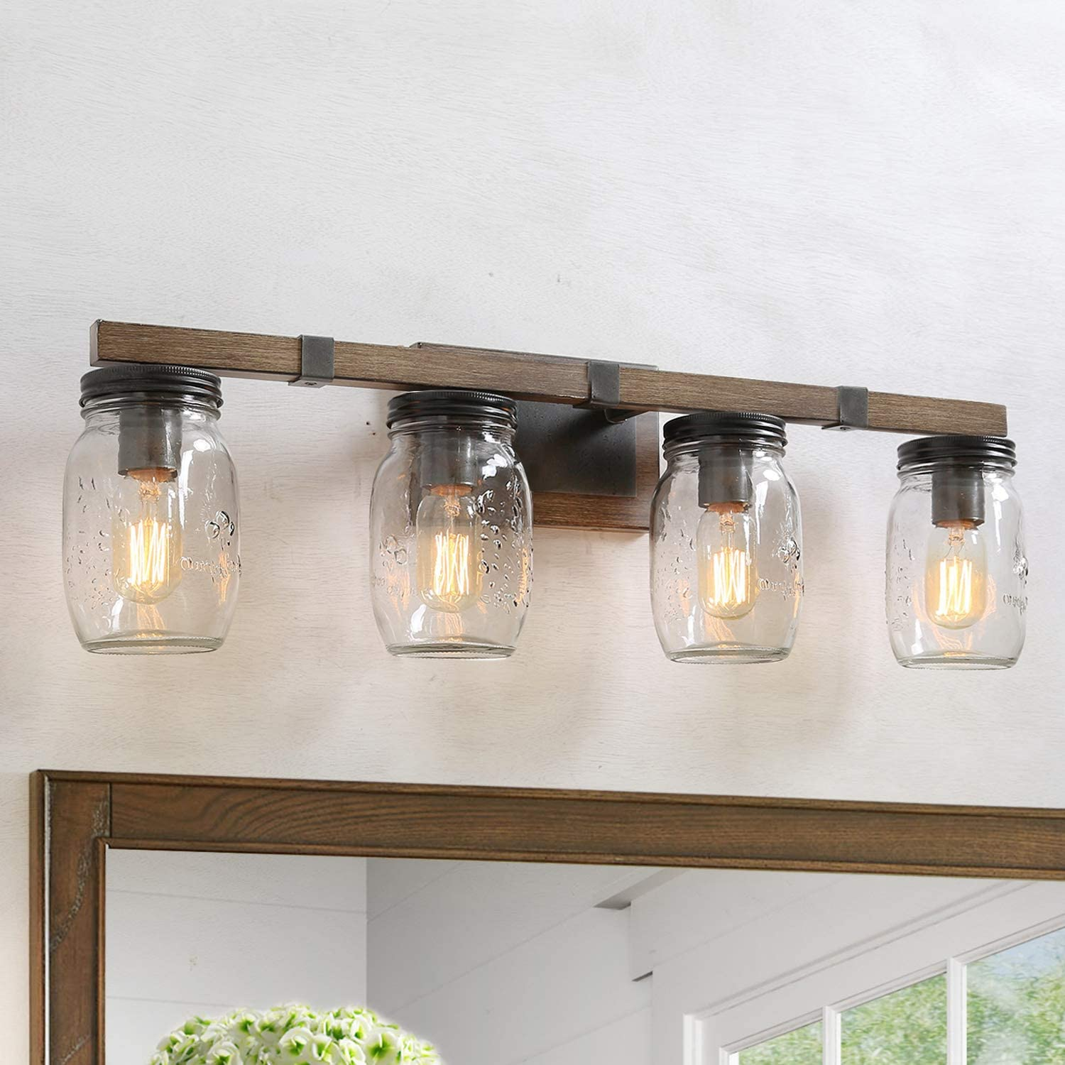 Buy Lnc Rustic Bathroom Light Fixtures Farmhouse Vanity Lighting With Mason Jar Glass Wooden Finished 29 Inches Online In Indonesia B085hnwjnw