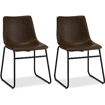 Ibbe Design 2er Set Dunkel Braun Kunstleder Esszimmerstühle Vintage Lounge Industrial Küchenstühle Abel, Schwarz Metallgestell, 46x54x78 cm