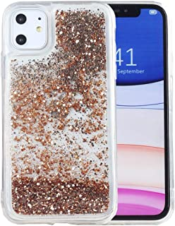 iPhone 11 Case, iYCK Soft TPU Bumper and Hard Back Panel Flowing Floating Liquid Infused Bling Glitter Sparkle Protective Case Cover for Apple iPhone 11 6.1 inch 2019 - Gold