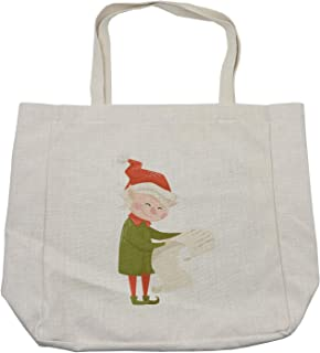 Ambesonne Elf Shopping Bag, Interpretation of an Old Lady Reading a List, Eco-Friendly Reusable Bag for Groceries Beach and More, 15.5