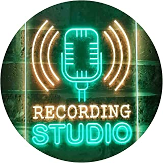 Recording Studio Microphone On Air Dual Color LED Neon Sign Green & Yellow 400 x 600mm st6s46-i3519-gy