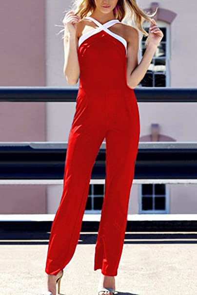 Aulin/é Collection Womens Sleeveless Halter Neck Boho Long Pants Romper Jumpsuit