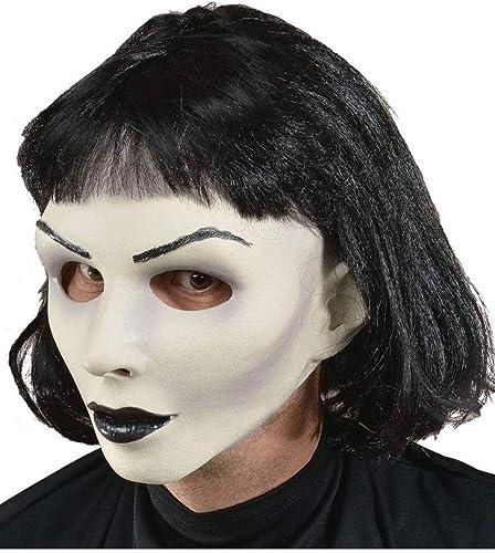 Horror-Shop Gothic Girl Frauenmaske aus Softlatex mit Schwarzr Perücke