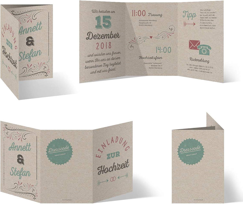 50 x Hochzeitseinladungen individuell mit Ihrem Inhalt Inhalt Inhalt als Klappkarte im Wickelfalz - Vintage Lettering B07J2N49QH | Niedrige Kosten  62de2c