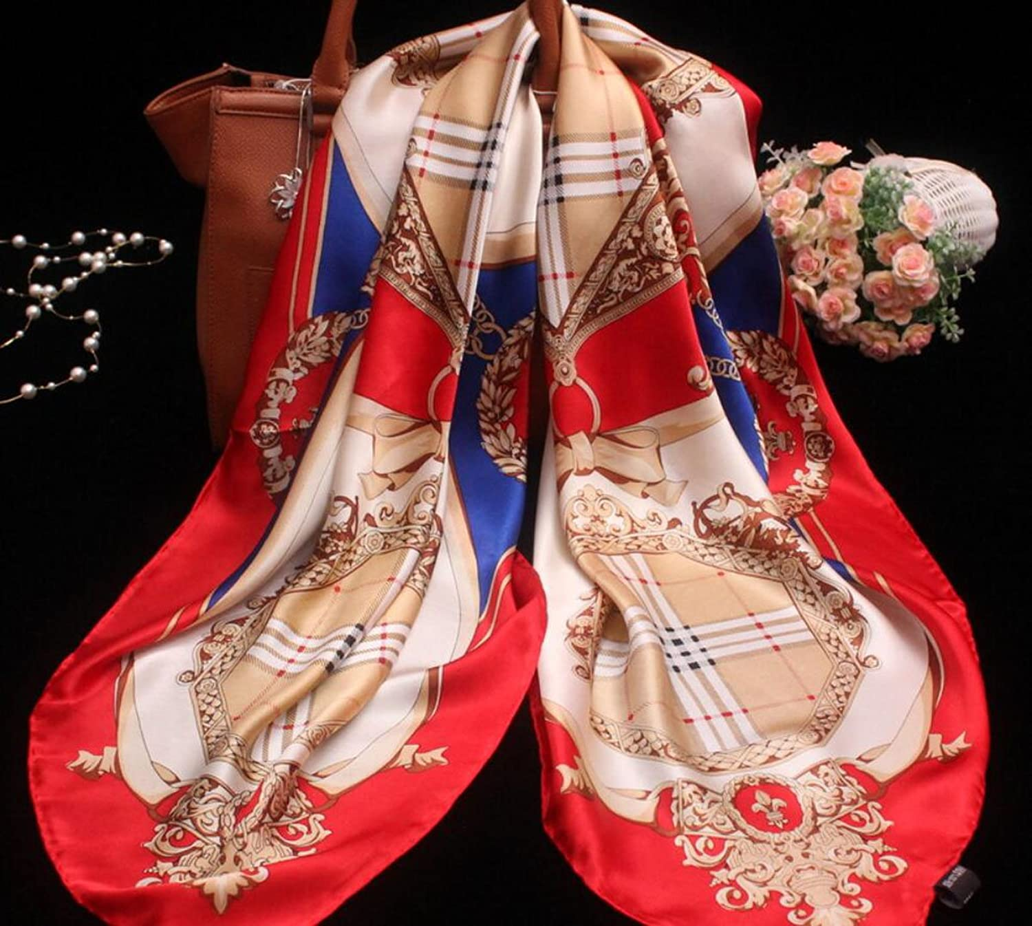 MBD Silk Scarf Square Scarf Printed Lattice Embroidery Embroidered Sunscreen Beach Towel Shawl (Length  110cm, Packing of 1) (color   RED)