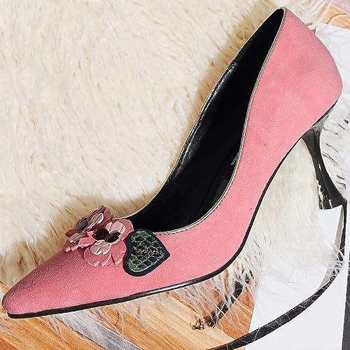 DHG Chaussures Femelles Pointues Bouche Peu Profonde Fleur Sexy Sandales à Talons Hauts avec Une Seule Femme,Une,38