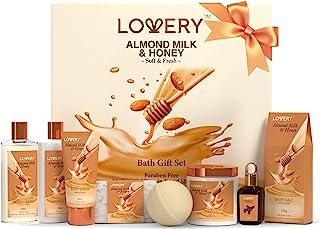 Bath Gift Set - Almond Milk and Honey Spa Kit Includes Shower Gel, Bath Bomb, Bubble Bath, Body Scrub, Salts, Body Butter, Jojoba Oil & Handmade Oatmeal Soap - Birthday & Holiday Gifts for Women & Men