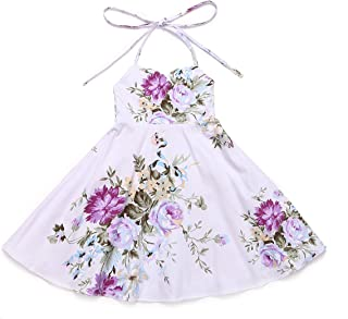 Flofallzique Floral Vintage Dress for 1-8 Years Old Girls Summer Holiday Party Dress for Toddler